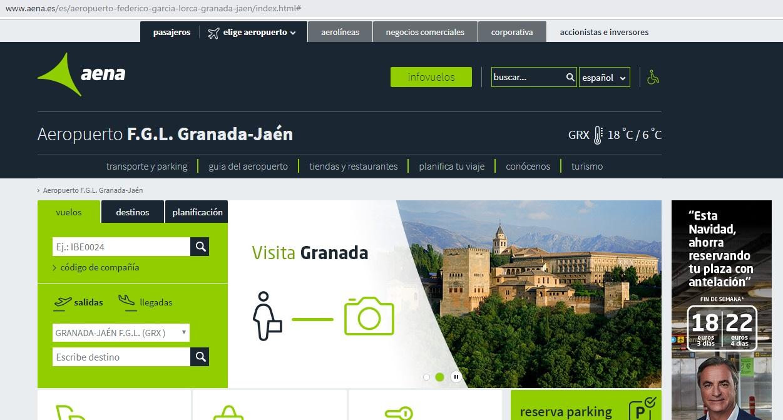 Aeropuerto de Granada El aeropuerto de Granada esta a 80 km a 1h y con buena comunicación