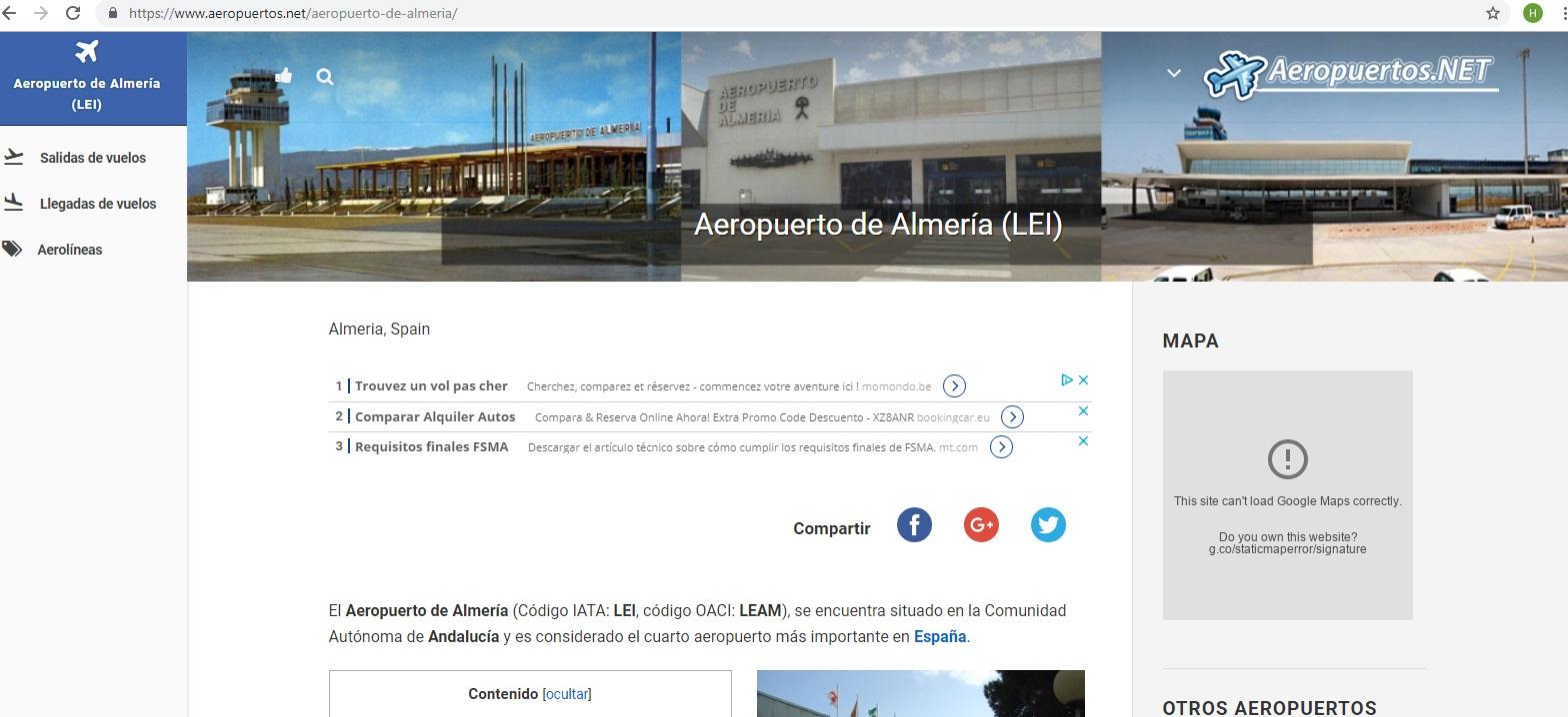 Aeropuerto de Almería El Aeropuerto de Almería esta a 100 Km a 1h:15min con buenas comunicaciones.