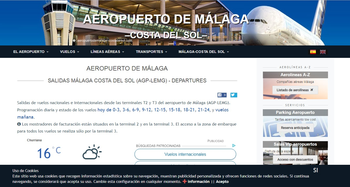Aeropuerto de Málaga El Aeropuerto de Málaga esta a 100 km, a 1h:15min y hay buenas comunicaciones.