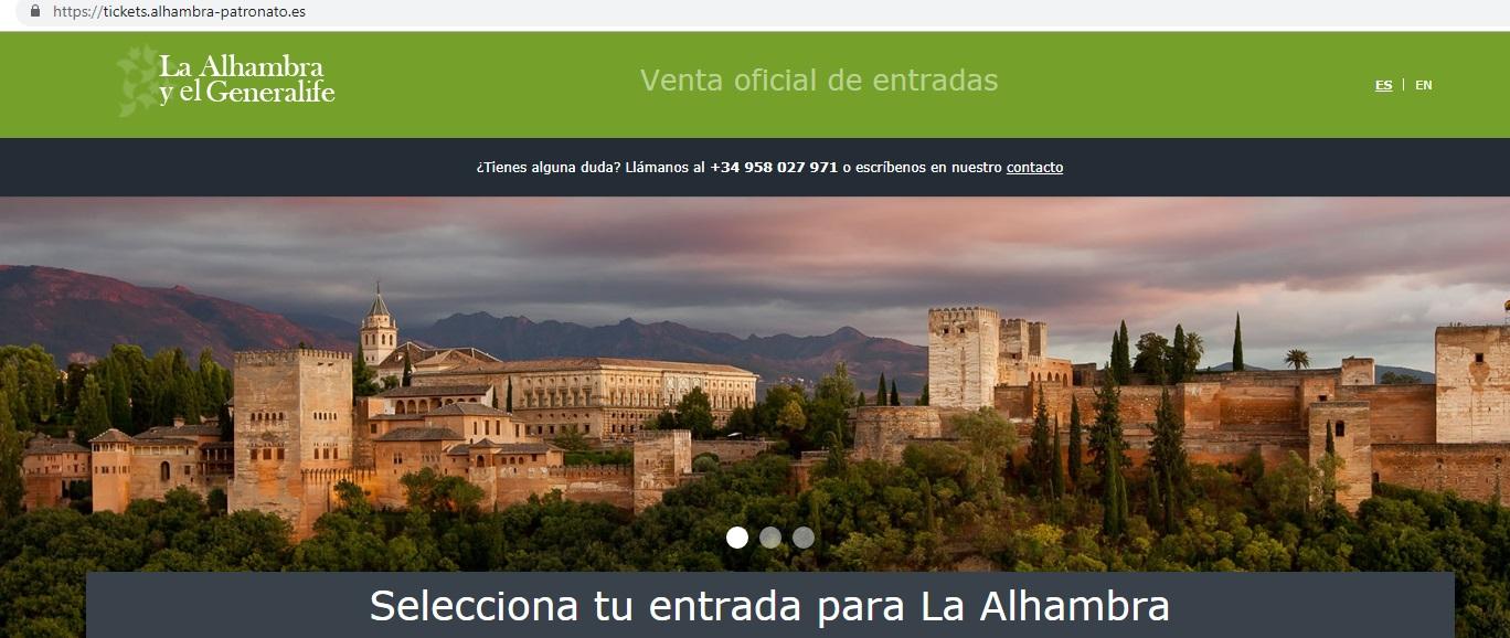 Alhambra de Granada (tikect) Pagina Oficial del Patronato de la Alambra, venta de entradas.