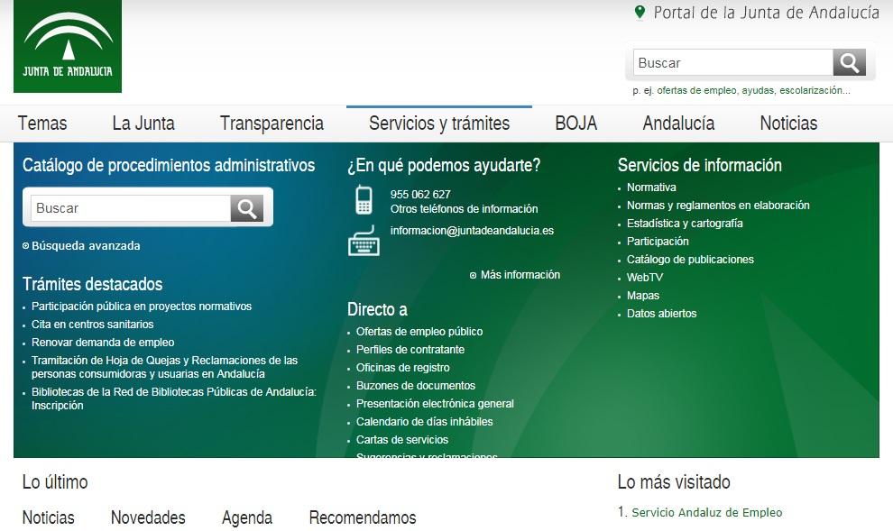 Junta de Andalucia Utiliza este buscador para localizar los procedimientos y servicios ofrecidos por la Administración de la Junta de Andalucía.