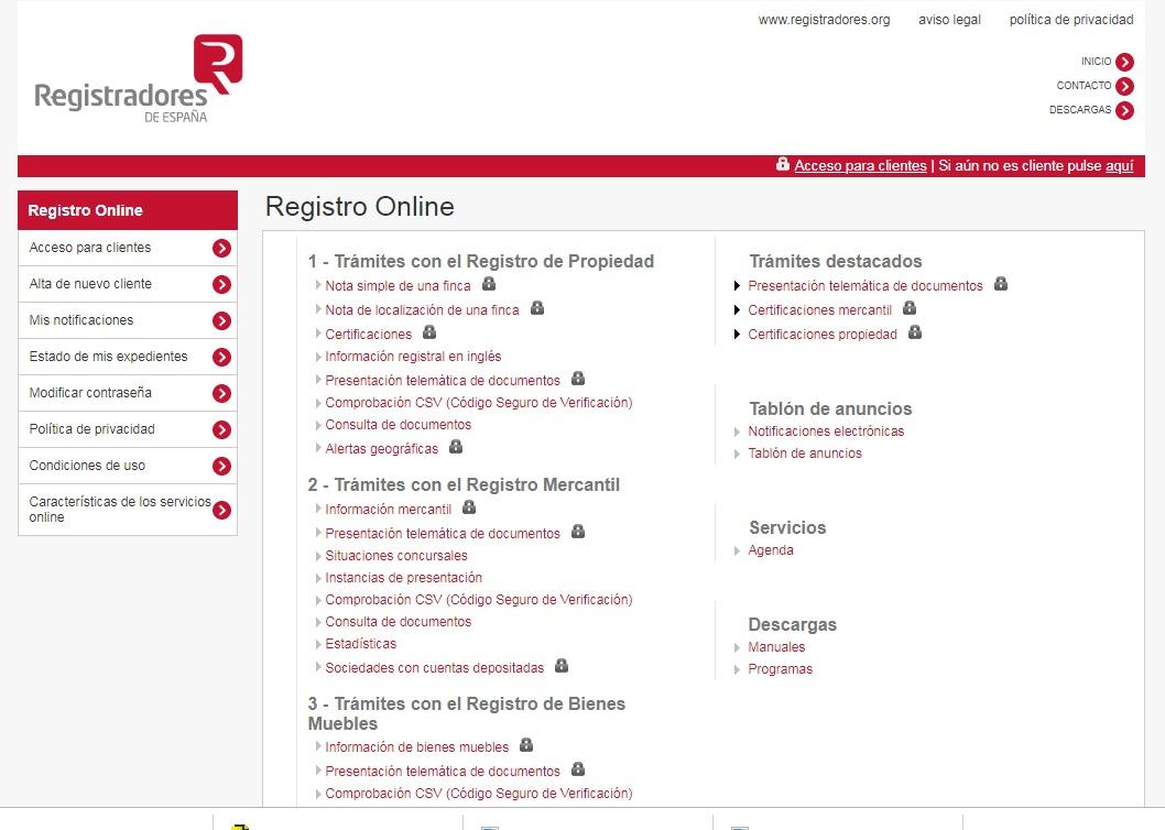 Registradores.ogs Para la tramitación online con el registro Mercantil, de la Propiedad y de Bienes Muebles.