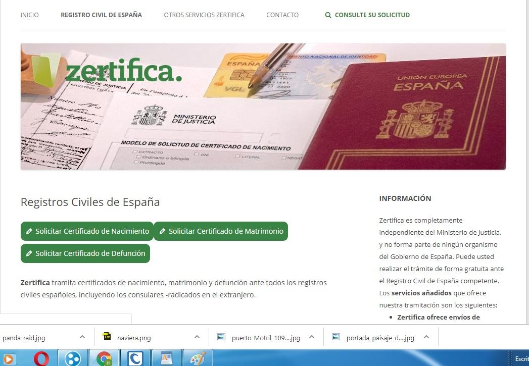 Registro Civil (agencia-Zertifica) Zertifica tramita certificados de nacimiento, matrimonio y defunción ante todos los registros civiles españoles, incluyendo los consulares -radicados en el extranjero.